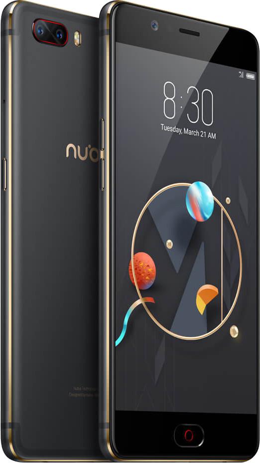 """Смартфон ZTE Nubia M2 4/64Gb Black, 8 ядер, 13+13/16Мп, 5.5"""" IPS, 4G, 3630 мАч, Snapdragon 625"""