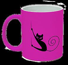 Неоновая матовая чашка c котом, ярко-розовая
