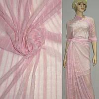 Трикотаж розовый в розовую полоску ш.160 см.