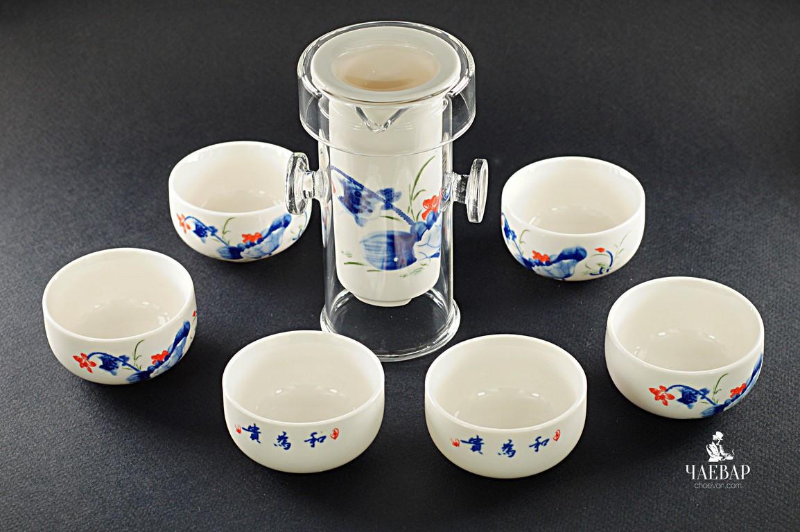 """Гайвань-колба, + пиалы для чаепития. Набор """"Компактный"""" для поездок"""