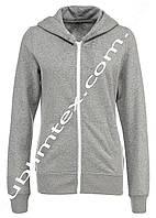 Толстовка женская, на молнии, серый меланж,чесаный флис, карман кенгуру, для сублимации, размер M
