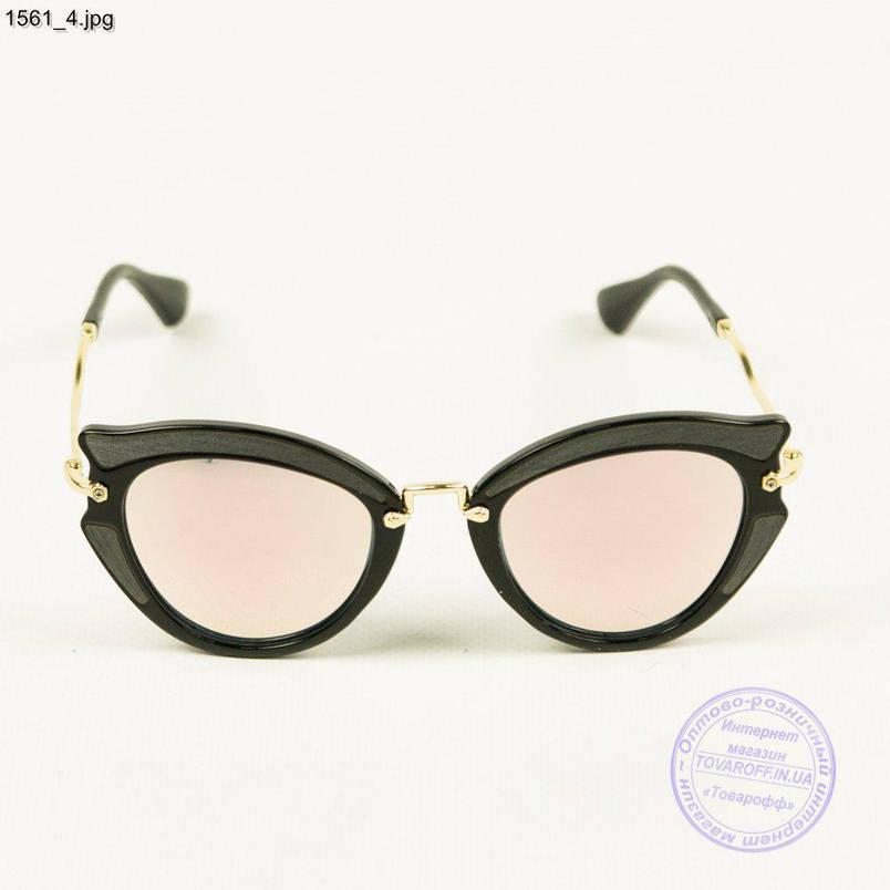 Оптом солнцезащитные женски очки с цветными линзами - Черные - 1561/2, фото 2