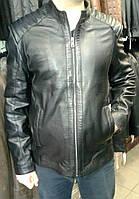 Куртка кожаная (в черном цвете) со стегаными плечами, фото 1