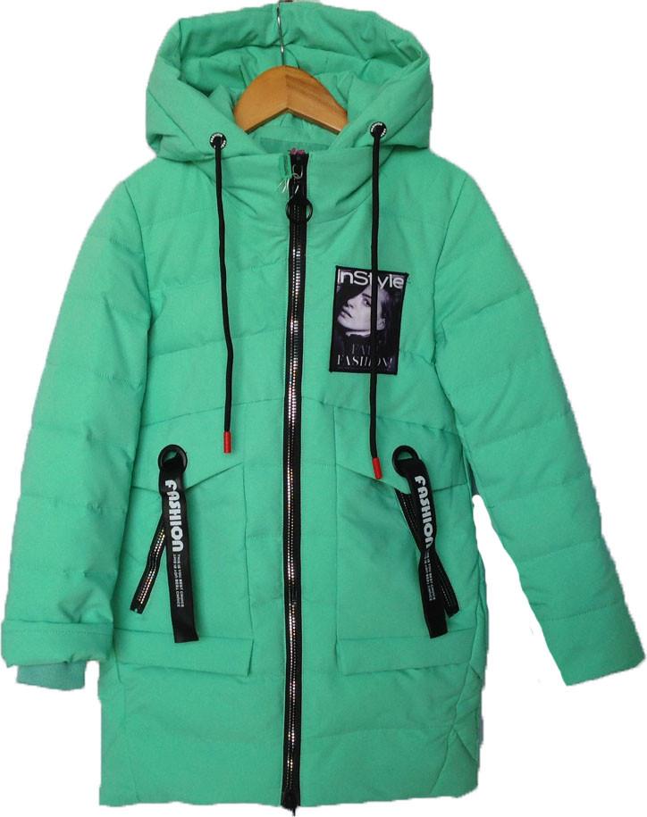 """Куртка подростковая демисезонная """"nStyle"""" #ВМ-813 для девочек. 9-10-11-12-13 лет. Мята. Оптом."""