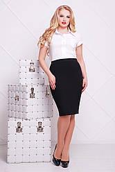 Черная офисная строгая юбка-карандаш большие размеры мод. №20 Б
