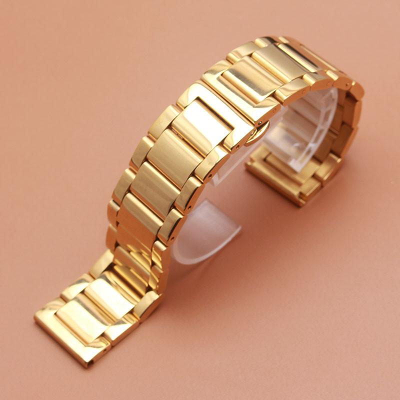 Браслет для часов золотистый из нержавеющей ювелирной стали 316L, литой, глянец. 20-й размер.