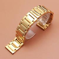 Браслет для часов золотистый из нержавеющей ювелирной стали 316L, литой, глянец. 20-й размер., фото 1