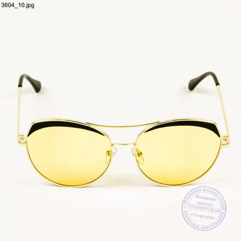 Оптом сонцезахисні окуляри жіночі - Золотисті з жовтими лінзами - 3604/3, фото 2