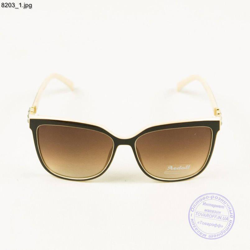 Жіночі Оптом сонячні окуляри бежеві - 8203, фото 2