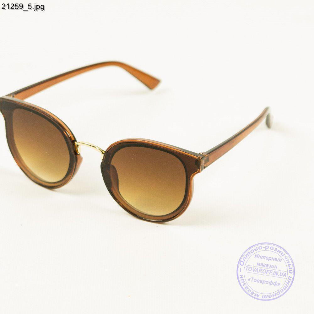 Оптом молодежные солнцезащитные очки - Коричневые с коричневой линзой - 21259/1