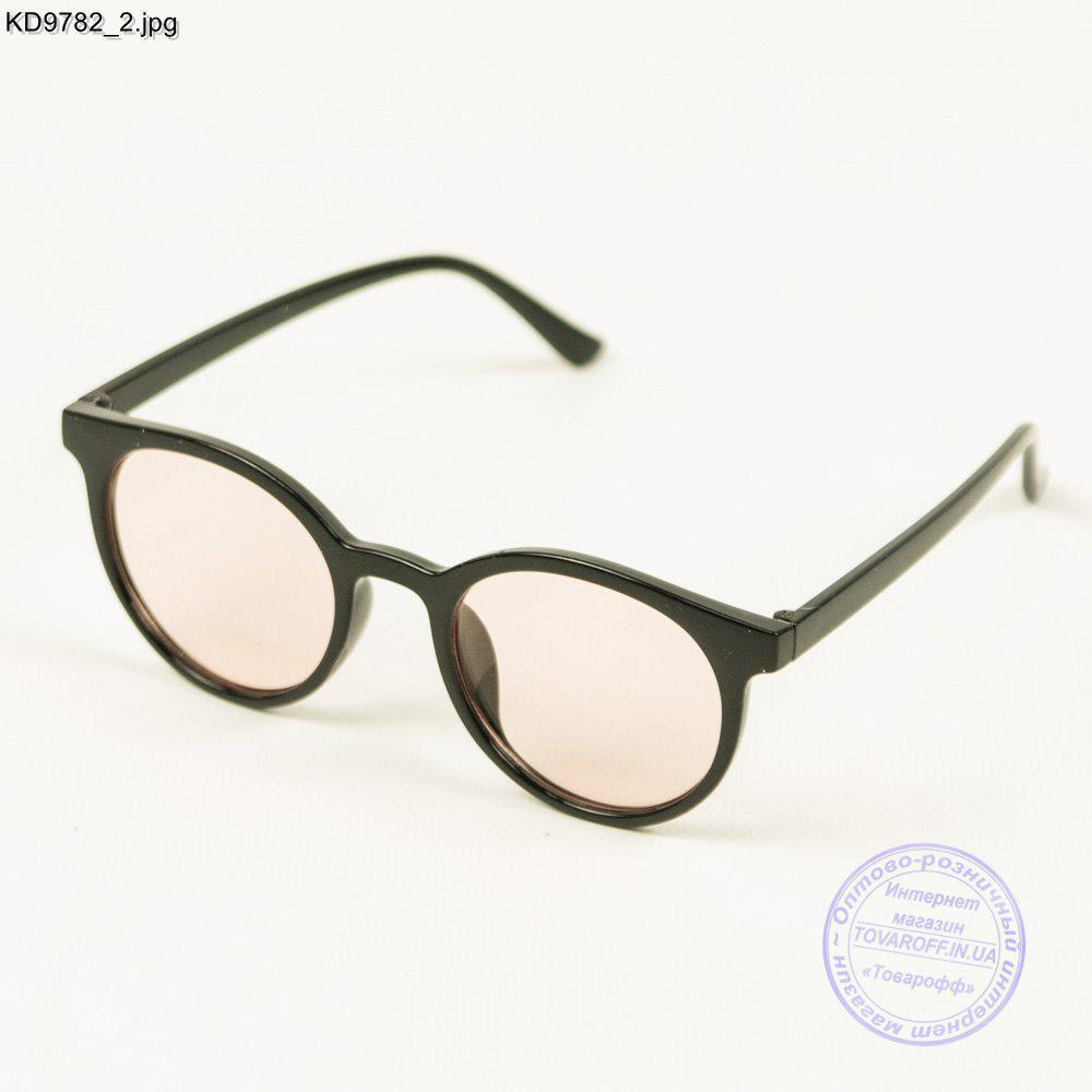 Оптом очки имиджевые унисекс - Черные с розовой линзой - KD9782