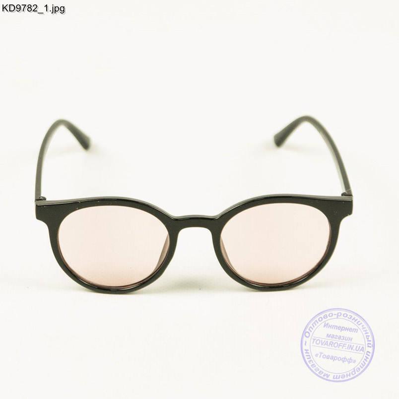 Оптом очки имиджевые унисекс - Черные с розовой линзой - KD9782, фото 2