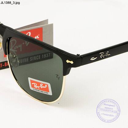 Оптом сонцезахисні окуляри Ray-Ban Клубмастер зі скляною лінзою - JL1388, фото 3