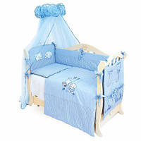 Детский постельный комплект Twins Evolution Котик и собачка 7 эл A-003, голубой