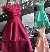 Нарядное расклешенное платье с кружевом ментол, бордо, персик