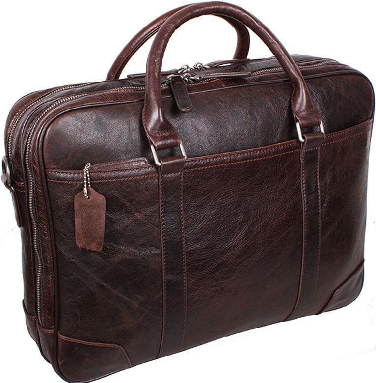 Кожаная сумка для ноутбука 9086-3DARKBROWN, темно-коричневый