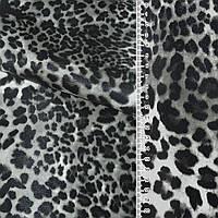 Кожа искусственная на флисе молочный серый леопард ш.140  ткань