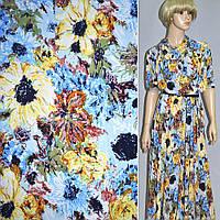 Лайкра голубая с цветами