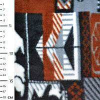 Флис серый в коричневый белый квадр с оленями и пингвин ширина 160 флисовая ткань