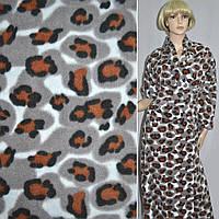 Флис молочный с терракот черным леопард ширина 165 флисовая ткань