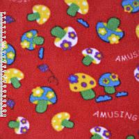 Флис красный грибы ширина 160 флисовая ткань