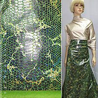 Замша искусственная зеленая с перламутровой чешуей и коричневый разводами ткань