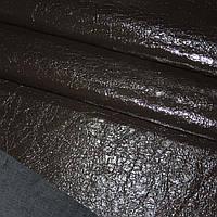 Кожа искусственная лаковая темно коричневый жатая на основе ш.150.. ткань
