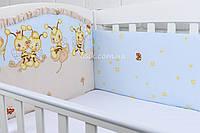 """Охранка (защита) в детскую кроватку """"Пчёлки с одуванчиками"""" голубого цвета № 103"""