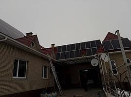 2 поля фотомодулей AmeriSolar AS-6P30-330 на скатной крыше