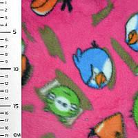 Флис ярко розовый аngry birds ширина 160 флисовая ткань