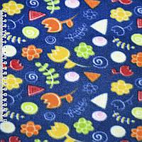 Флис синий с желтый оранжевыми цветами ширина 160 флисовая ткань