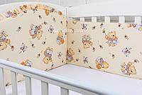 """Охранка (защита) в детскую кроватку """"Мишки с мёдом"""" бежевого цвета № 85"""