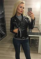 Женская черная кожаная куртка косуха