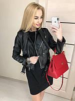 Женская черная кожаная куртка косуха 2