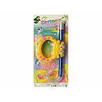 Набор для плавания: маска 14-13см, трубка 32,5см, 4 цвета на листе 19х40,5х6см CF29