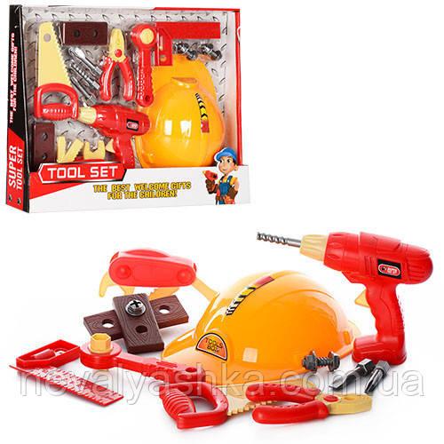Набор Инструментов, каска, дрель, пила Детские Инструменты 6608, 007008