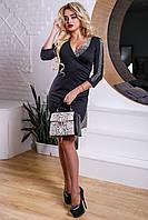Женское трикотажное платье р. 44 и 46, с запахом, чёрное