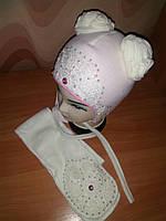 Детская шапка+шарф для девочки весенняя