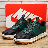 Кроссовки мужские NikeLunar Force 1 черные с зеленым