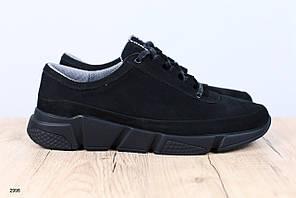 Мужские кроссовки, черные, из натурального нубука