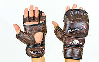 Перчатки гибридные для единоборств MMA Kanpeki 5780: размер M-XL, кожа
