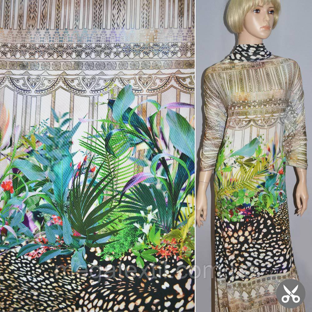 Трикотаж вискоза зеленый черный с цветным рисунком леопард рапорт  - Интернет магазин тканей Мегатекстиль в Запорожье
