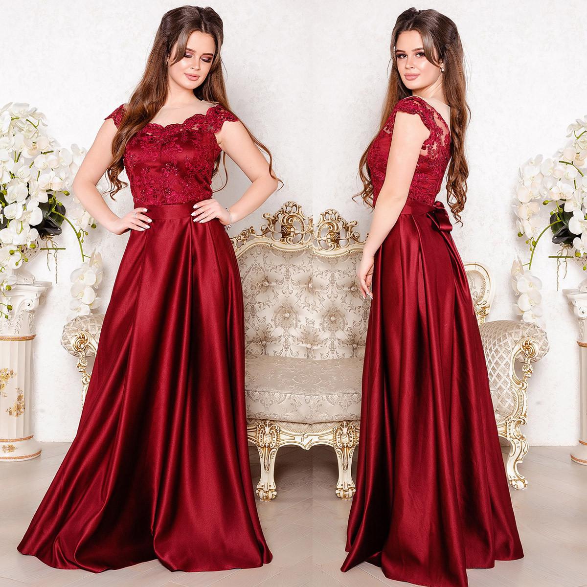 """Атласное длинное выпускное, вечернее платье с кружевом """"Персия люкс"""" - Интернет-магазин женской одежды """"ANNA-BEST"""" в Умани"""