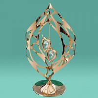 """Позолоченная статуэтка с кристаллами Swarovski """"Стрела в 2-х сердцах"""""""