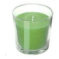 Ароматическая свеча в стакане IKEA SINNLIG 7.5 см яблоко и груша зеленая 303.373.93