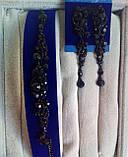 """Комплект удлиненные  серьги  """" под золото"""" и браслет, высота 8,5 см. , фото 4"""