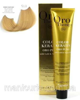 Безаммиачная крем-краска Fanola Oro Therapy Color Keratin 9.0 Очень светлый блондин, 100 мл