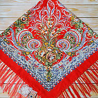 Женский платок  красного цвета (120х120см, 80%-шерсть), фото 1
