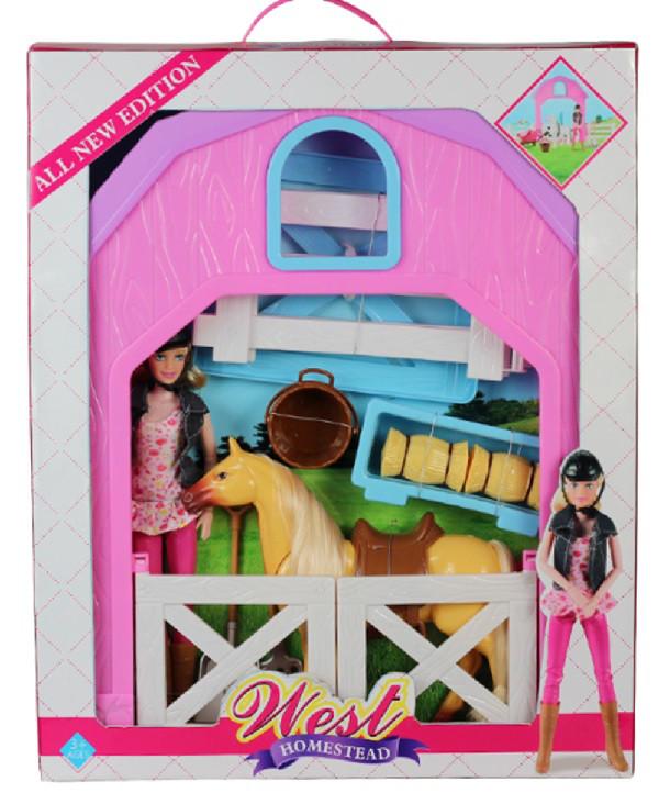 Лошадка с куколкой, стойлом, сеном, вилами и лопатой
