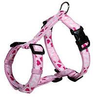Trixie TX-15998 шлея розовая с сердечками для собак ( нейлон 40-65 см / 20 мм )